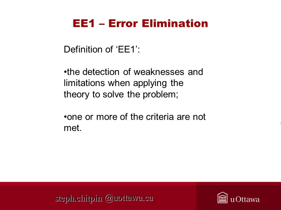 EE1 – Error Elimination Definition of 'EE1':