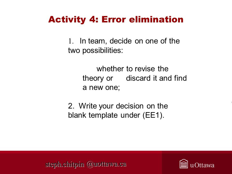Activity 4: Error elimination