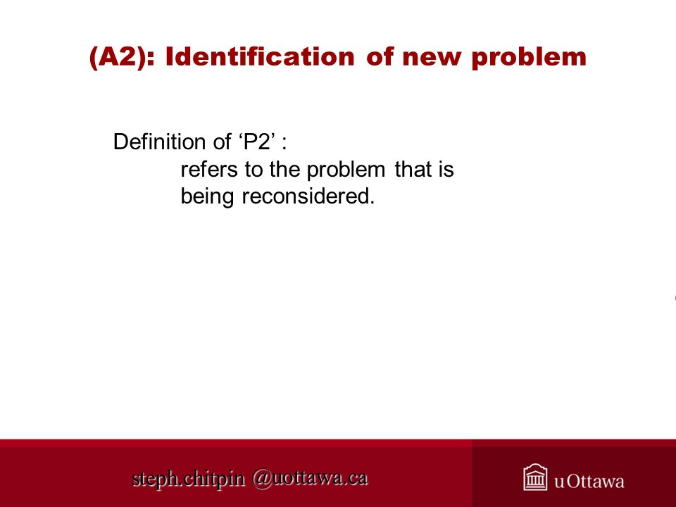 (A2): Identification of new problem