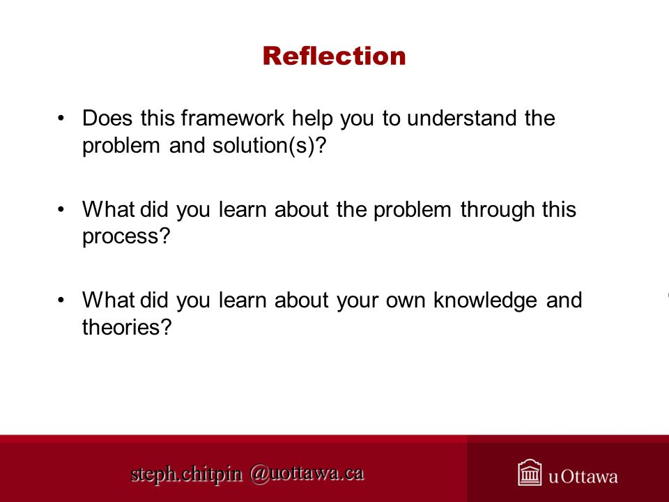 Reflection Does this framework help you to understand the problem and solution(s) What did you learn about the problem through this process