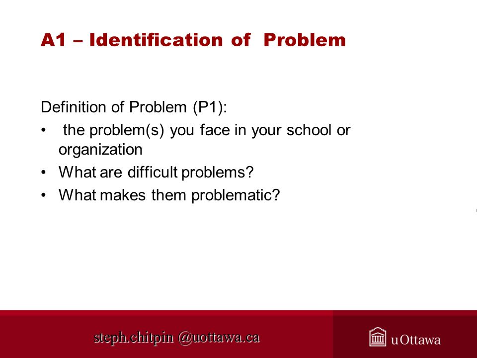 A1 – Identification of Problem
