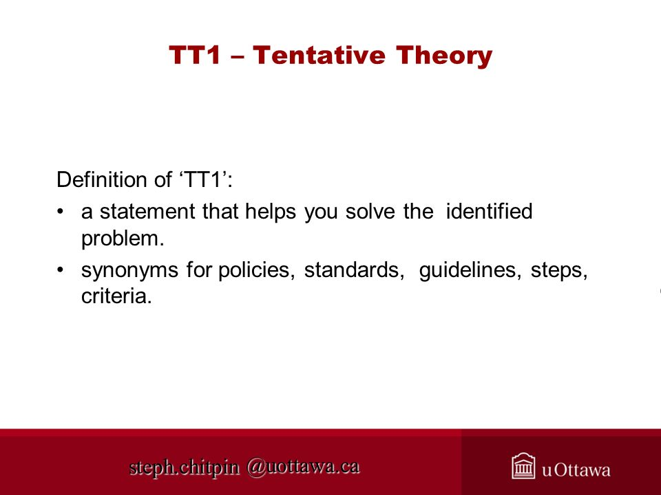 TT1 – Tentative Theory Definition of 'TT1':