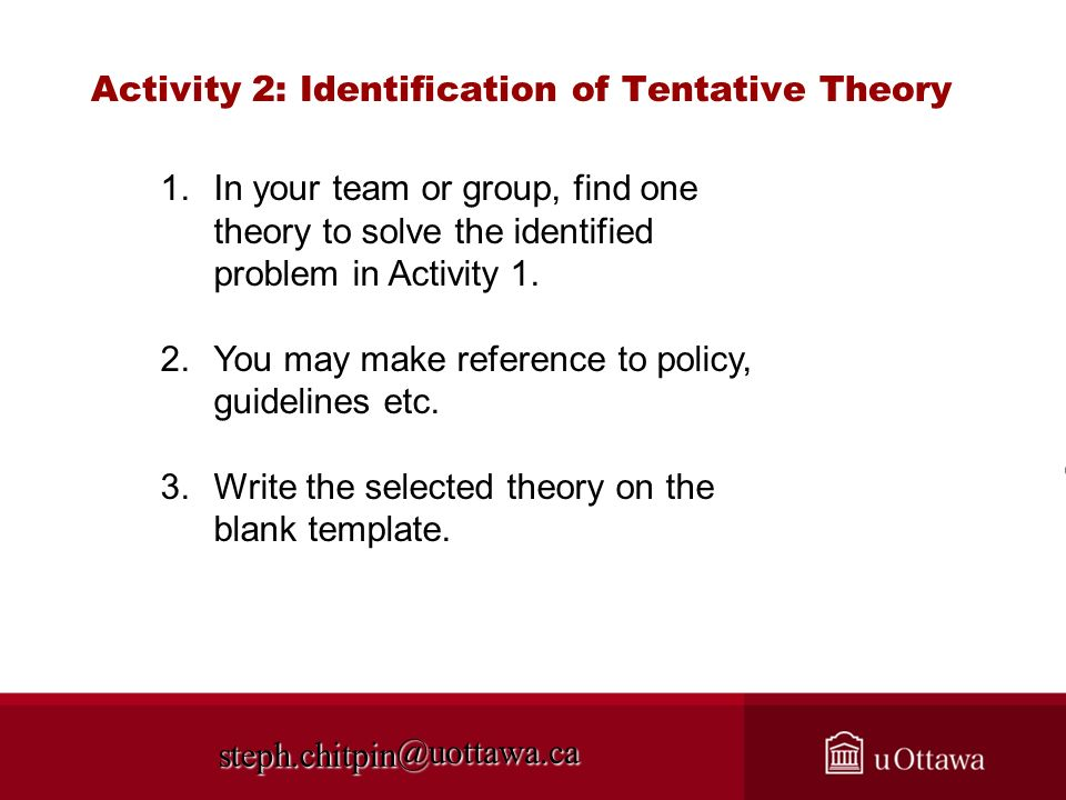 Activity 2: Identification of Tentative Theory