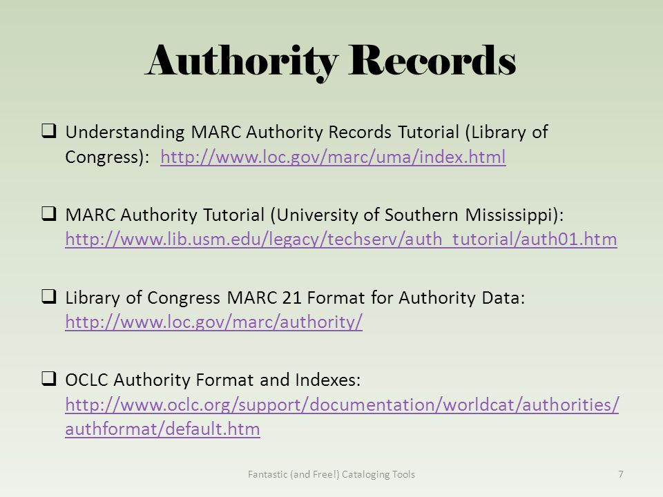 Library of congress authorities