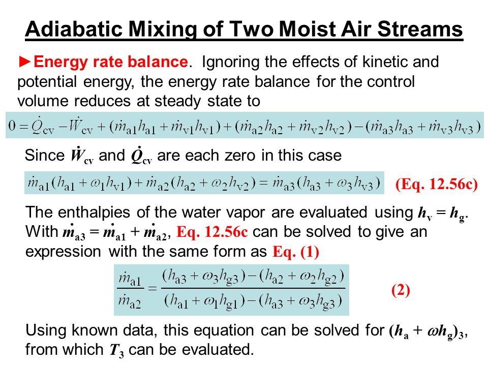 Psychrometric Chart - Adiabatic Mixing Of Two Moist Air Streams