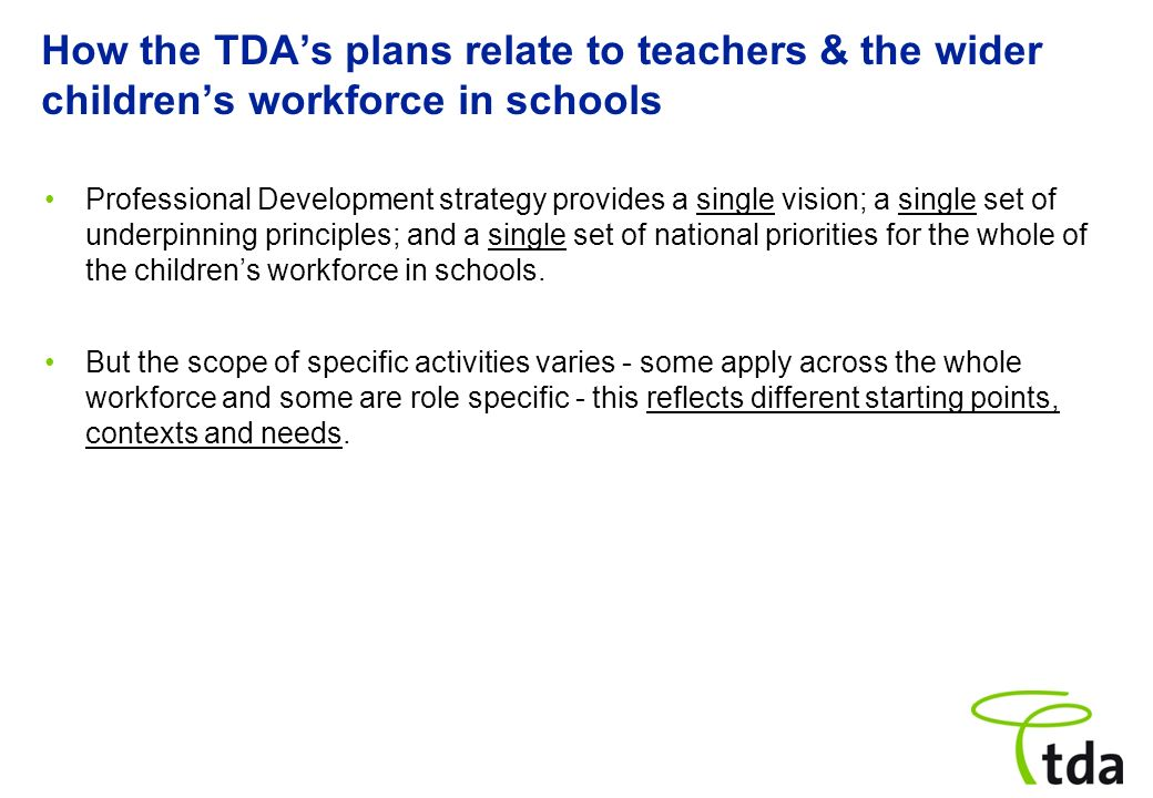 How the TDA's plans relate to teachers & the wider children's workforce in schools