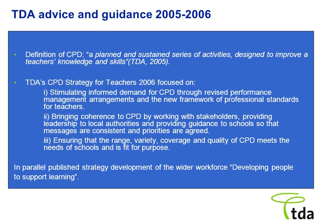 TDA advice and guidance 2005-2006