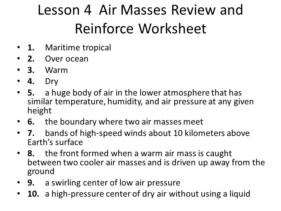 Water and the Atmosphere Chapter 4 Weather ppt download – Air Masses Worksheet