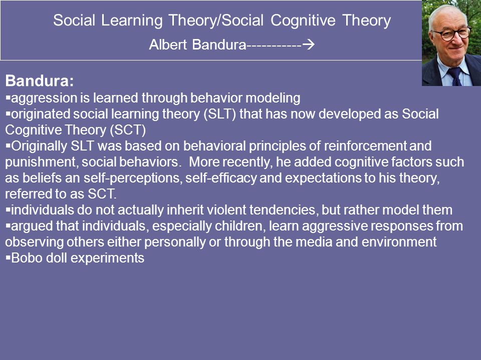social learning theory behavioral therapy Theory and addiction continuedcognitive-behavioral therapy: improving  coping  social learning is the most common way that people learn  if we  observed these sorts of things then we will be more likely to try out these  behaviors as well  when we apply social learning theory to addictions  treatment, the usual.