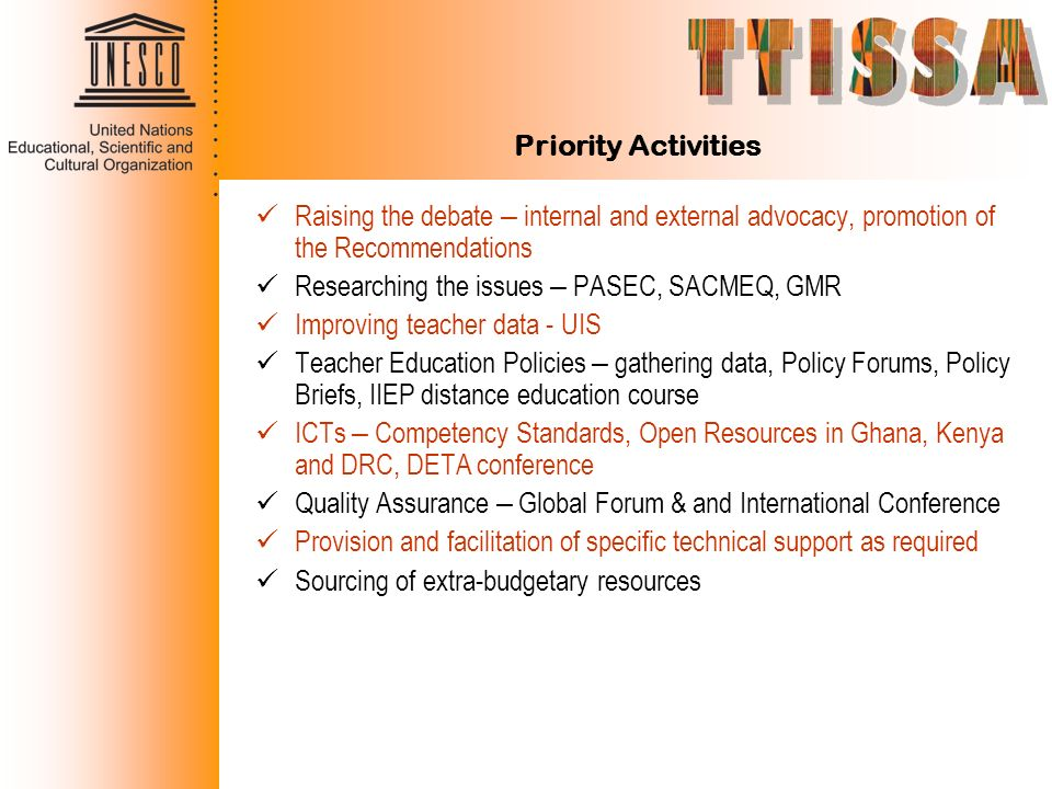 Priority Activities Raising the debate – internal and external advocacy, promotion of the Recommendations.