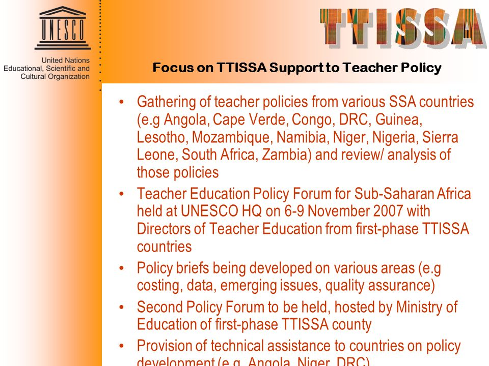 Focus on TTISSA Support to Teacher Policy