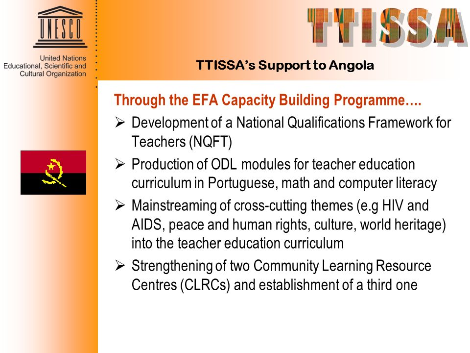 TTISSA's Support to Angola