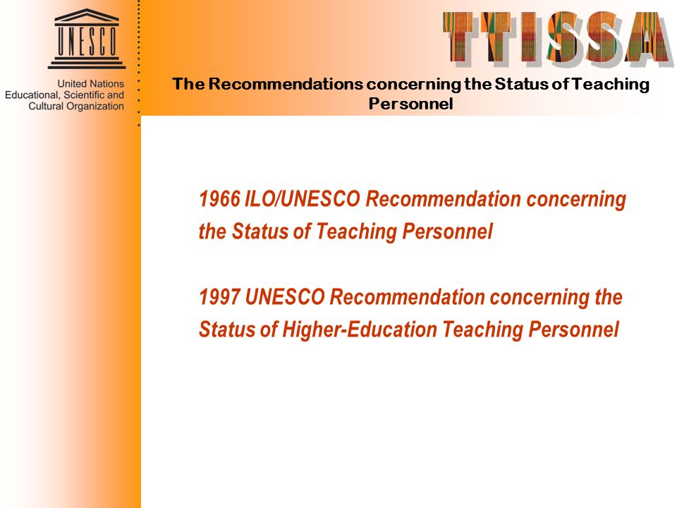 The Recommendations concerning the Status of Teaching Personnel