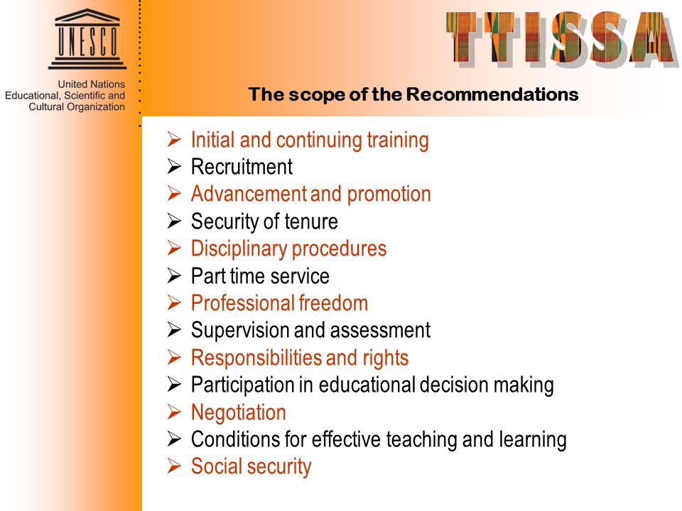 The scope of the Recommendations
