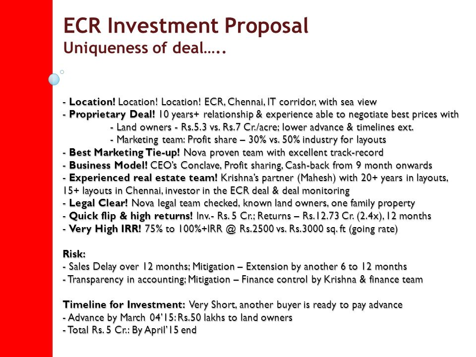Ecr Investment Proposal - Ppt Download