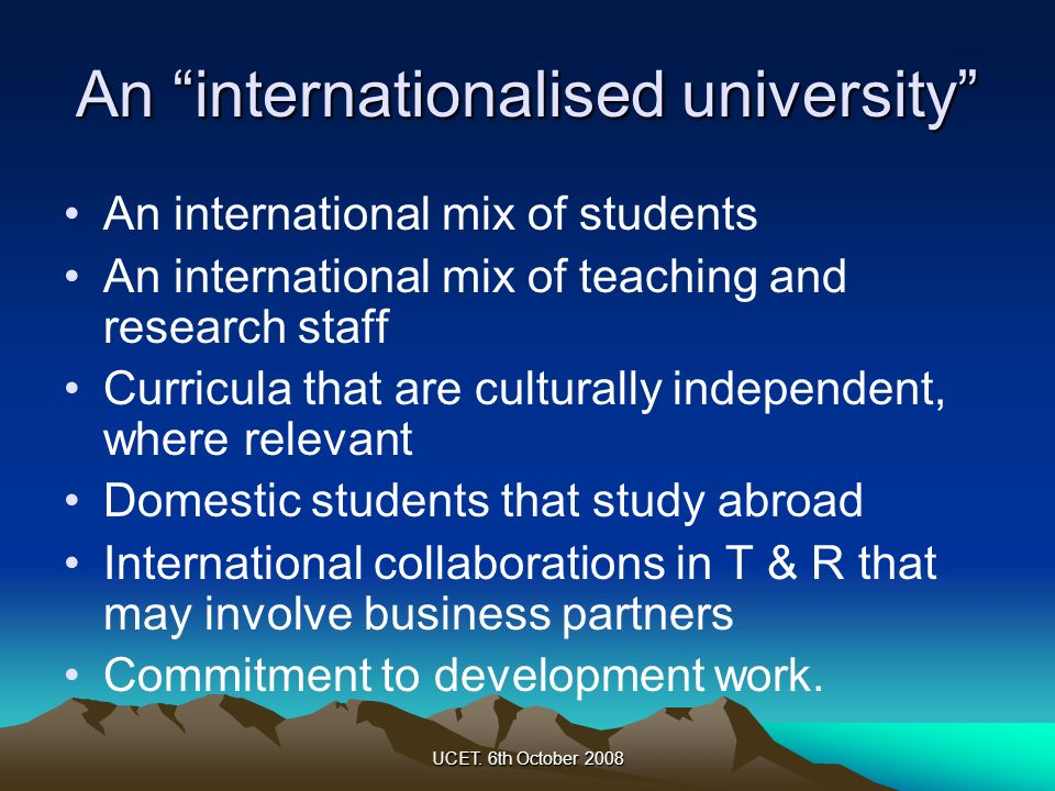 An internationalised university