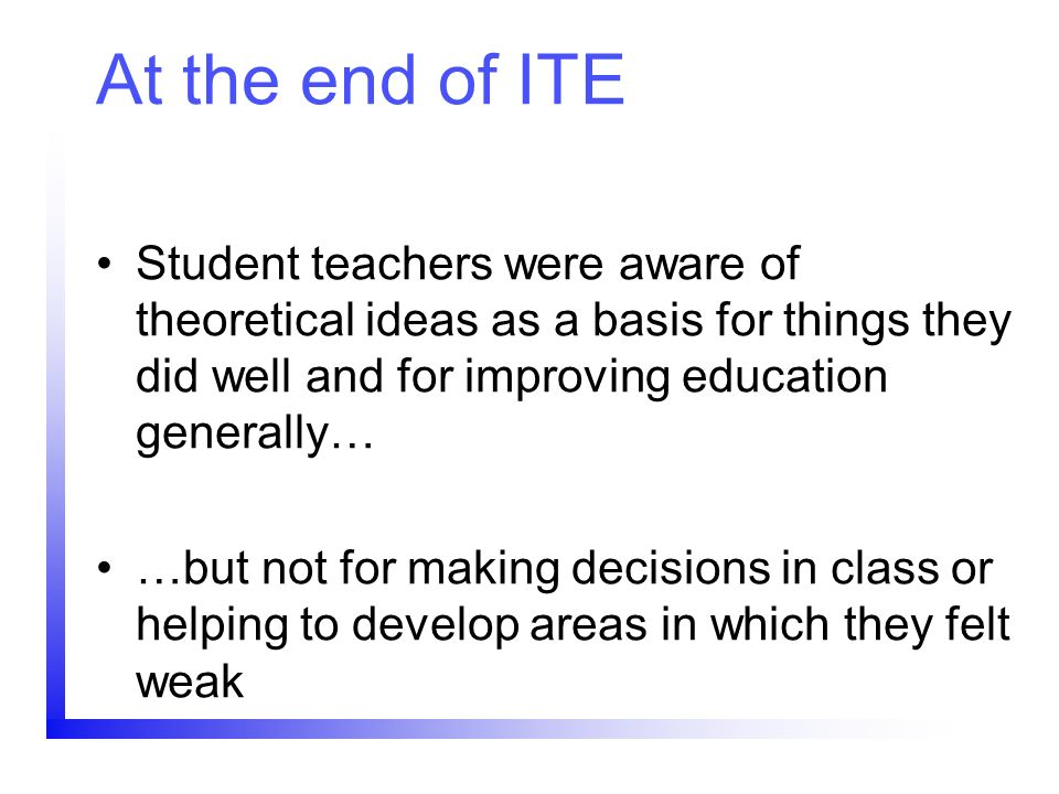 At the end of ITE Student teachers were aware of theoretical ideas as a basis for things they did well and for improving education generally…