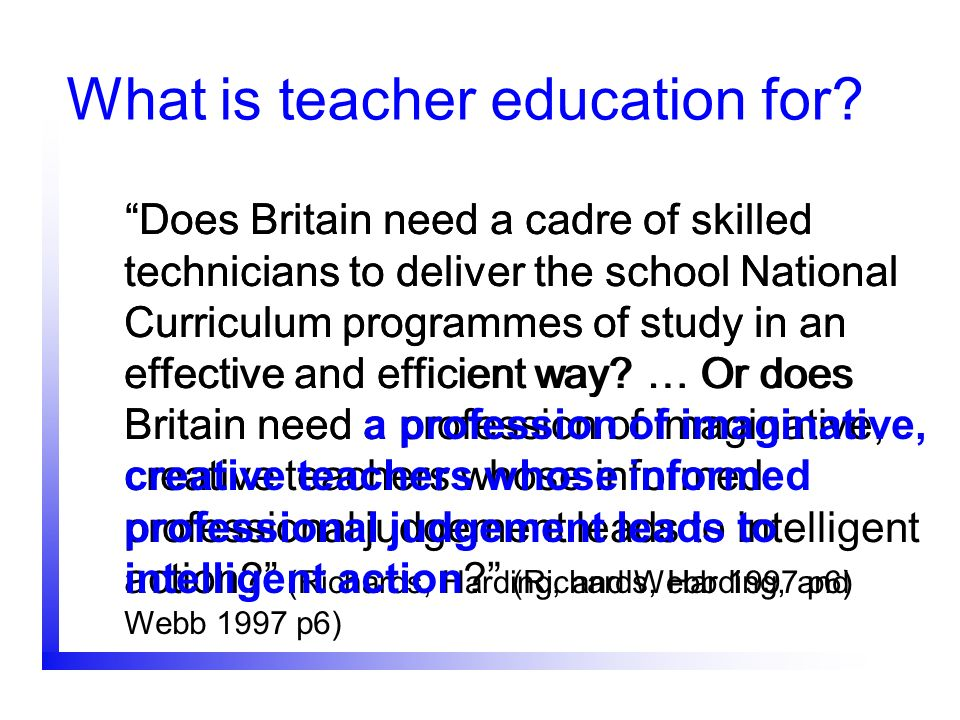 What is teacher education for