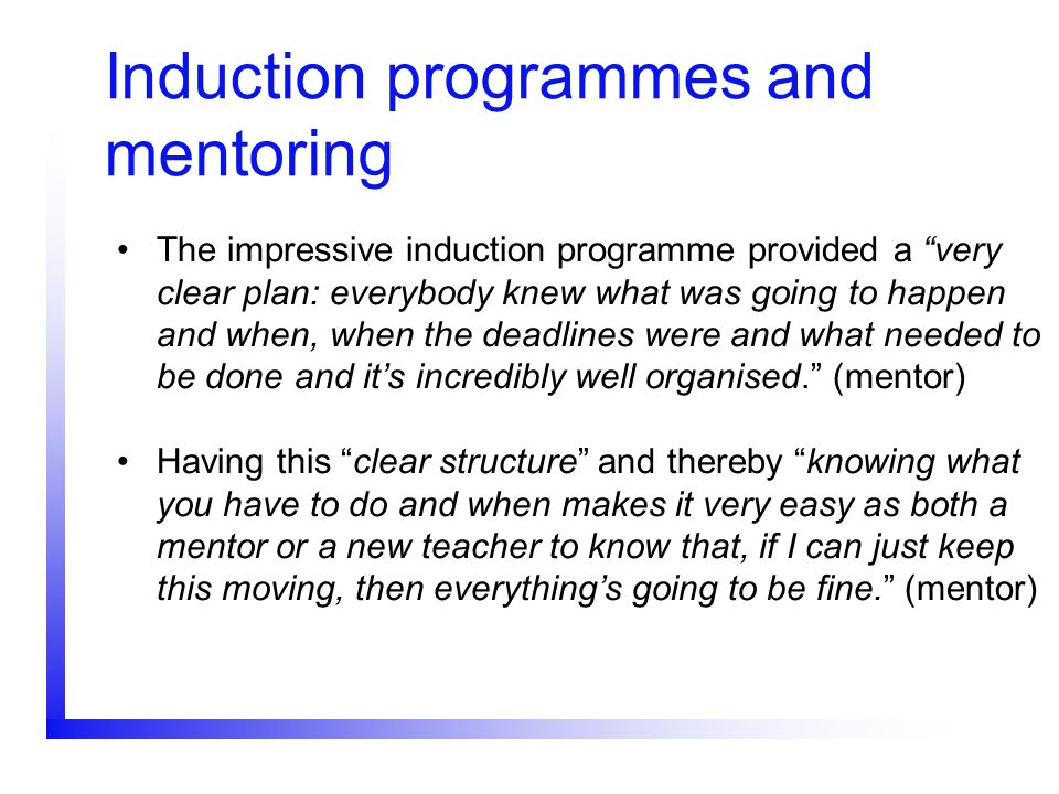 Induction programmes and mentoring