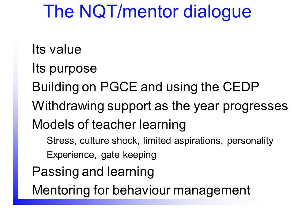 The NQT/mentor dialogue