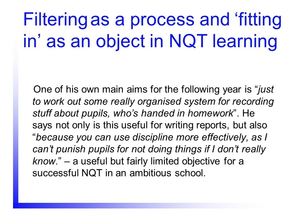 Filtering as a process and 'fitting in' as an object in NQT learning