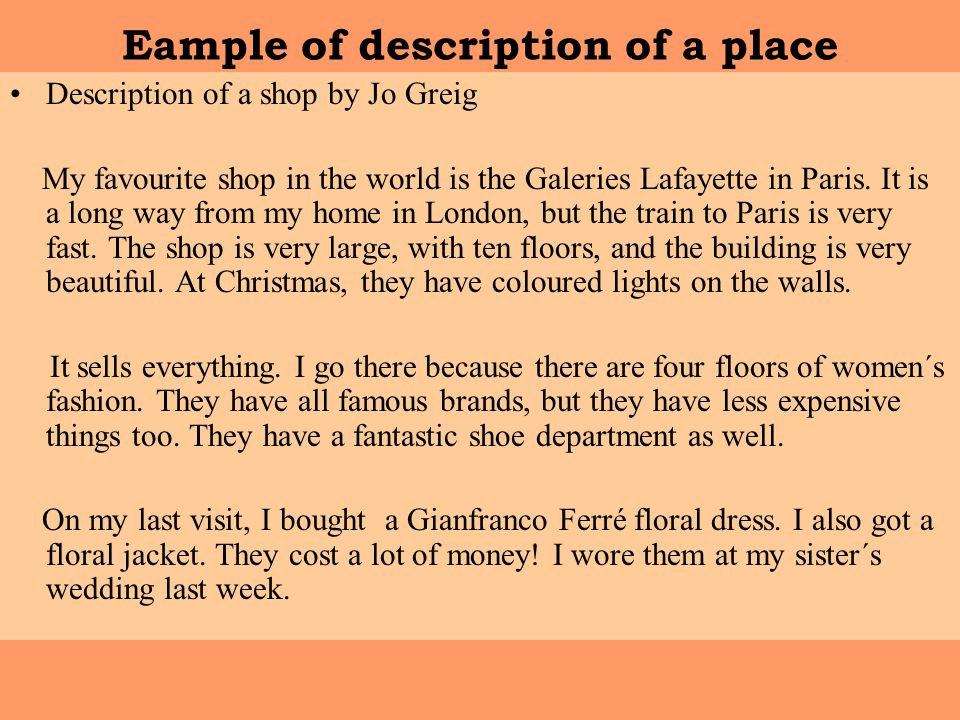 Descriptive Essay - Favorite Place - WriteWork