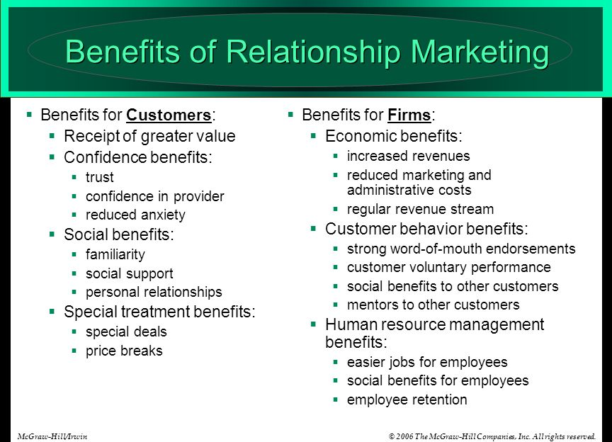 relationship marketing goals and benefits