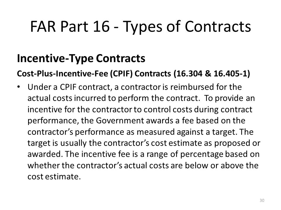 Federal acquisition regulation far part 16 types of for Cost plus contract example