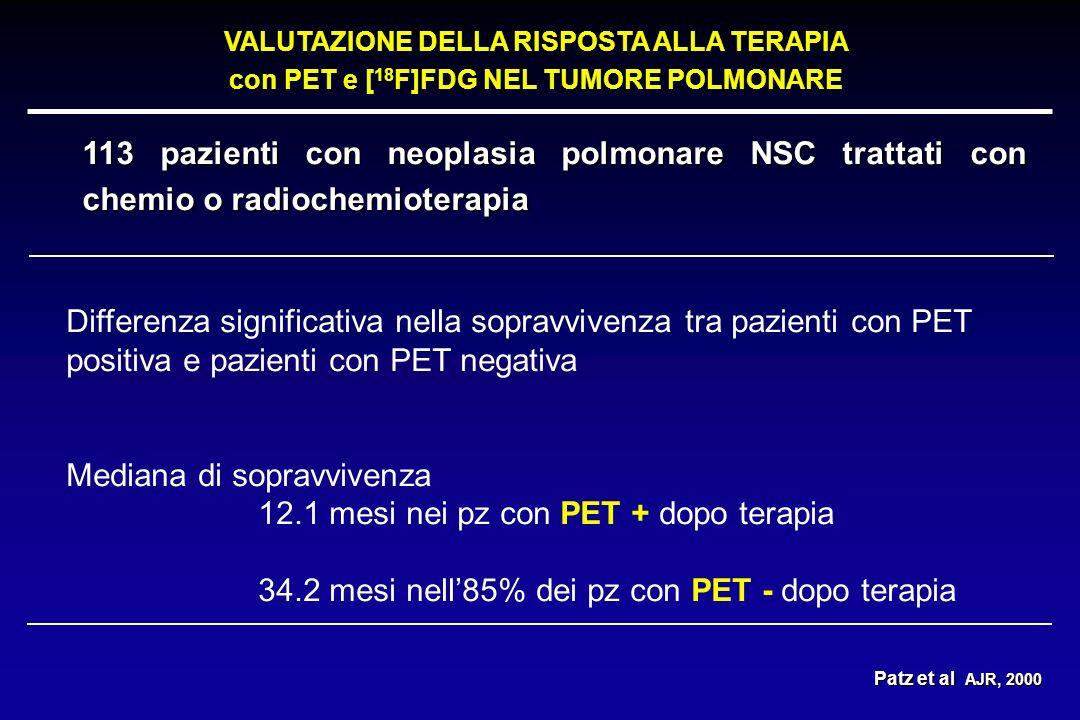 Mediana di sopravvivenza 12.1 mesi nei pz con PET + dopo terapia