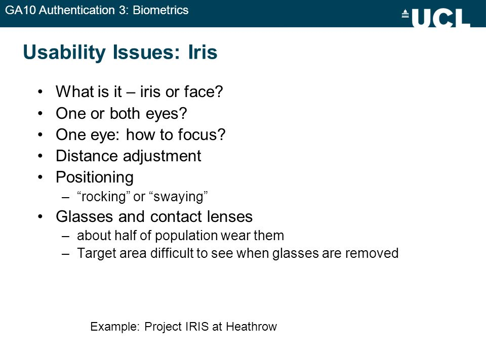 Usability Issues: Iris