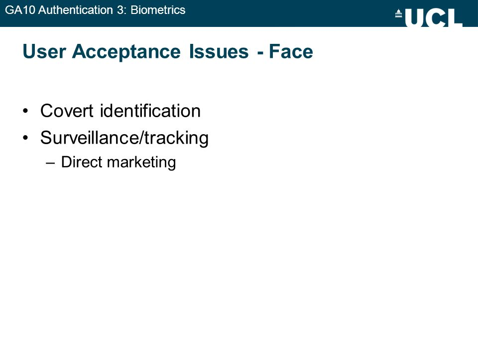 User Acceptance Issues - Face