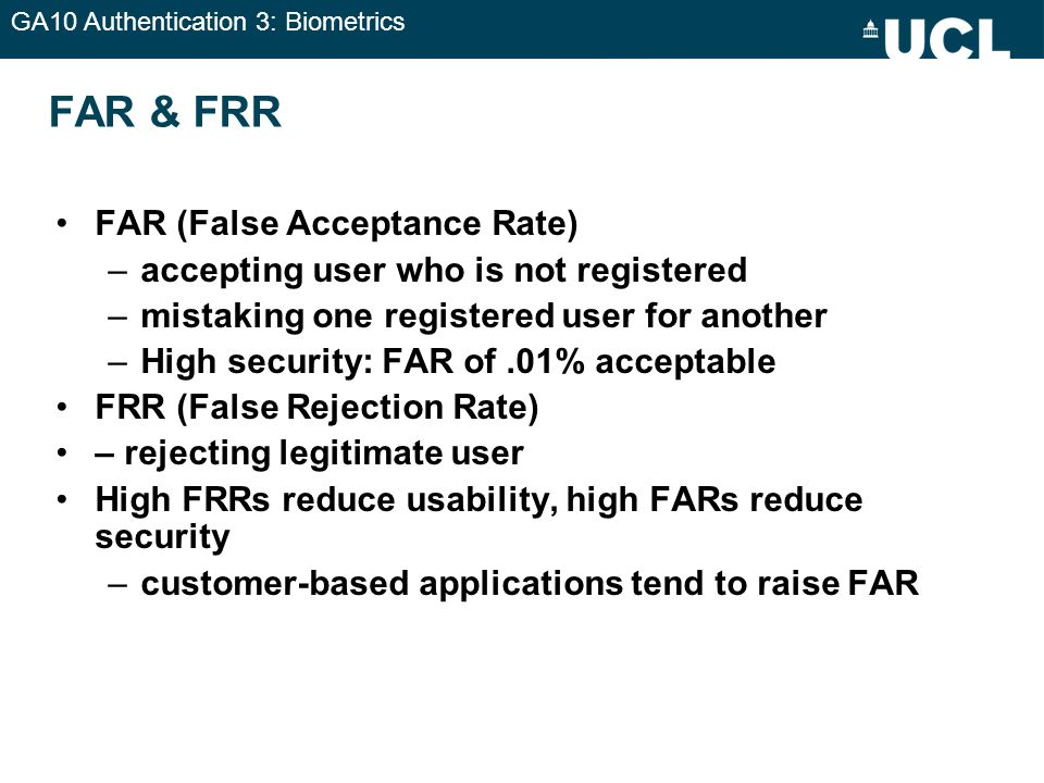 FAR & FRR FAR (False Acceptance Rate)
