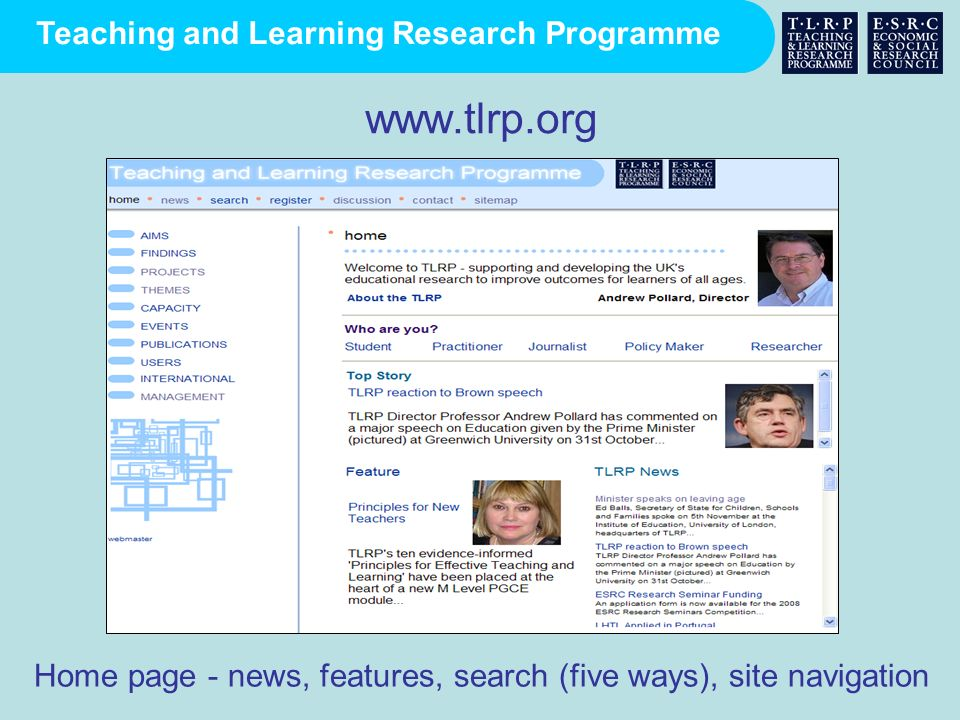 www.tlrp.org Home page - news, features, search (five ways), site navigation