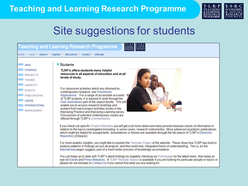 Site suggestions for students