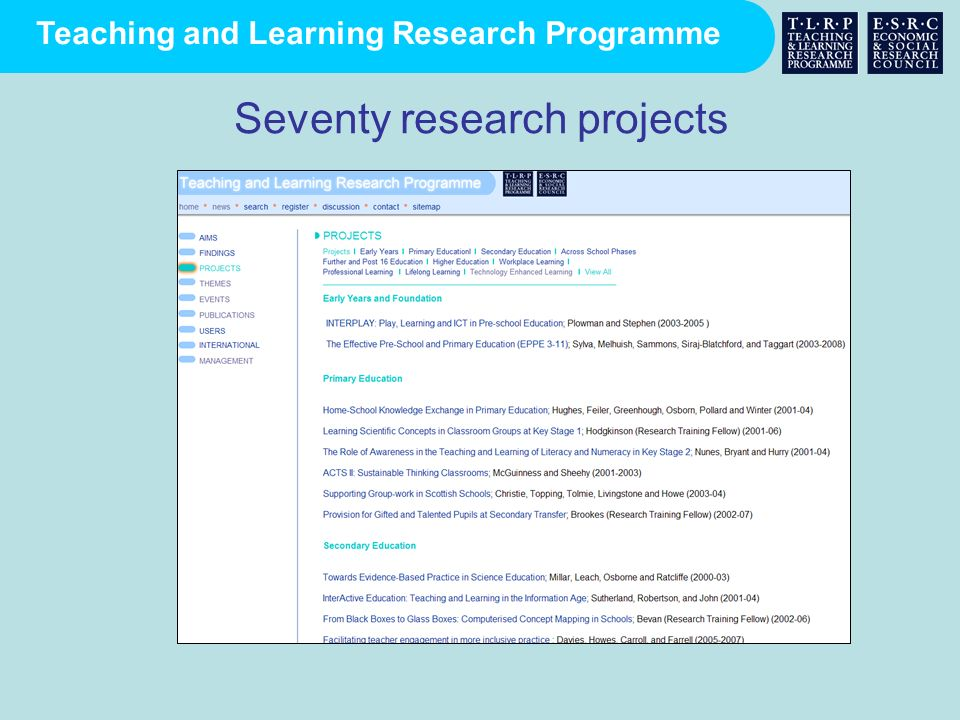 Seventy research projects
