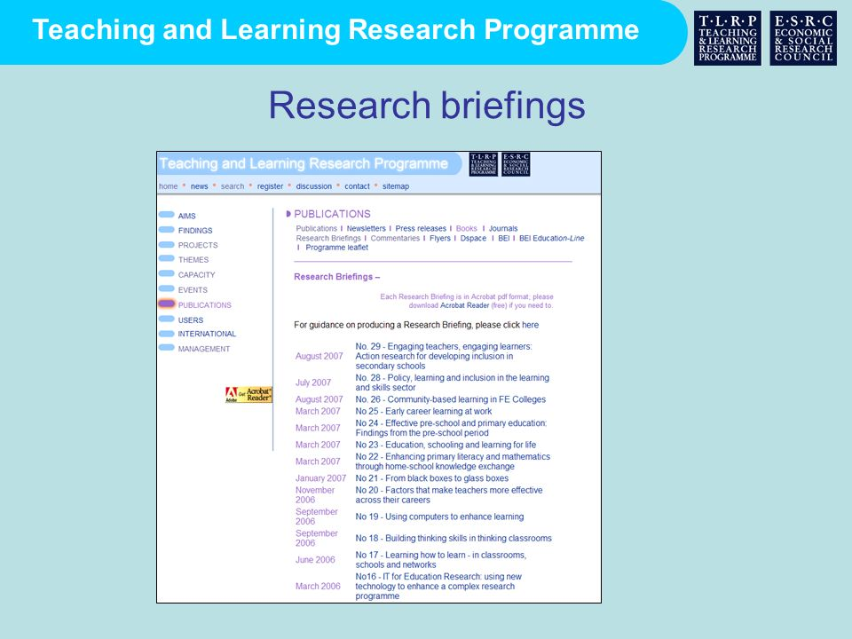 Research briefings
