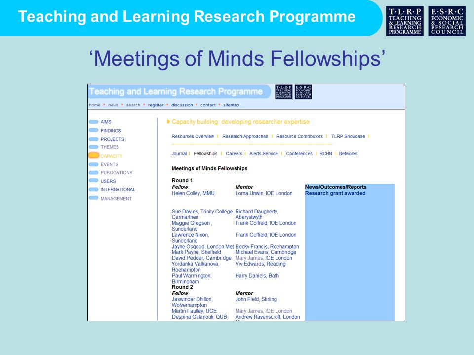 'Meetings of Minds Fellowships'