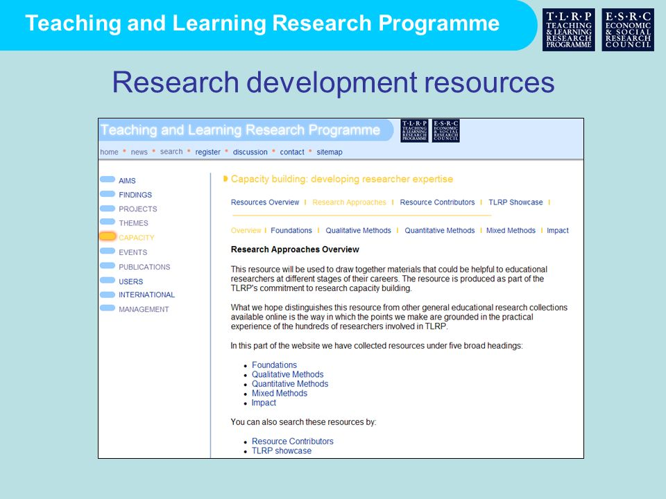 Research development resources