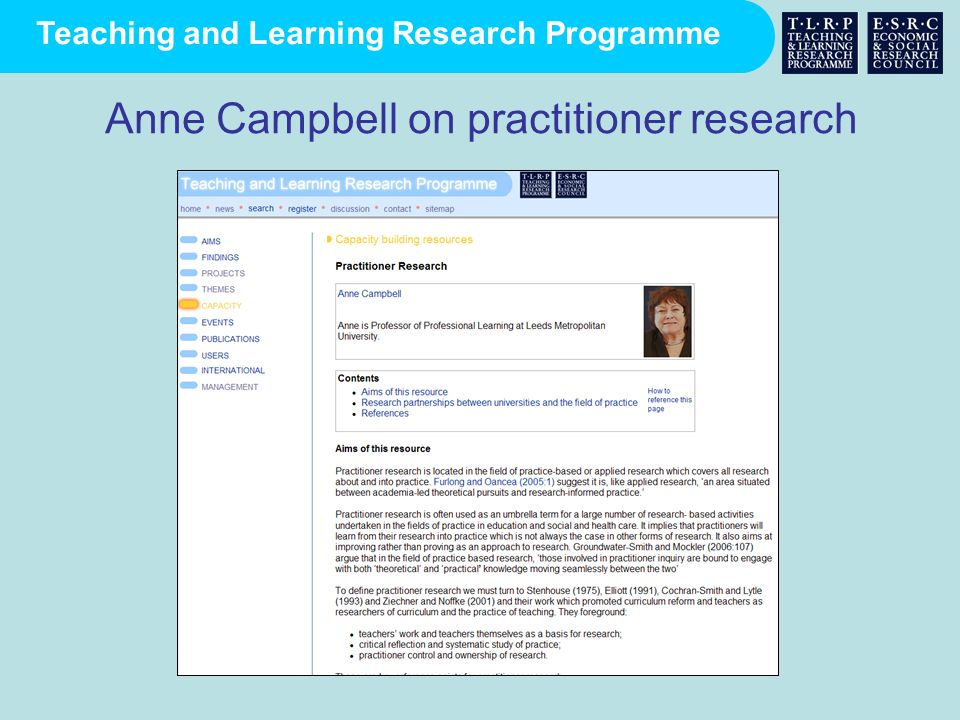Anne Campbell on practitioner research