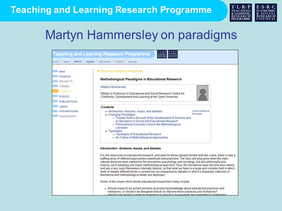 Martyn Hammersley on paradigms