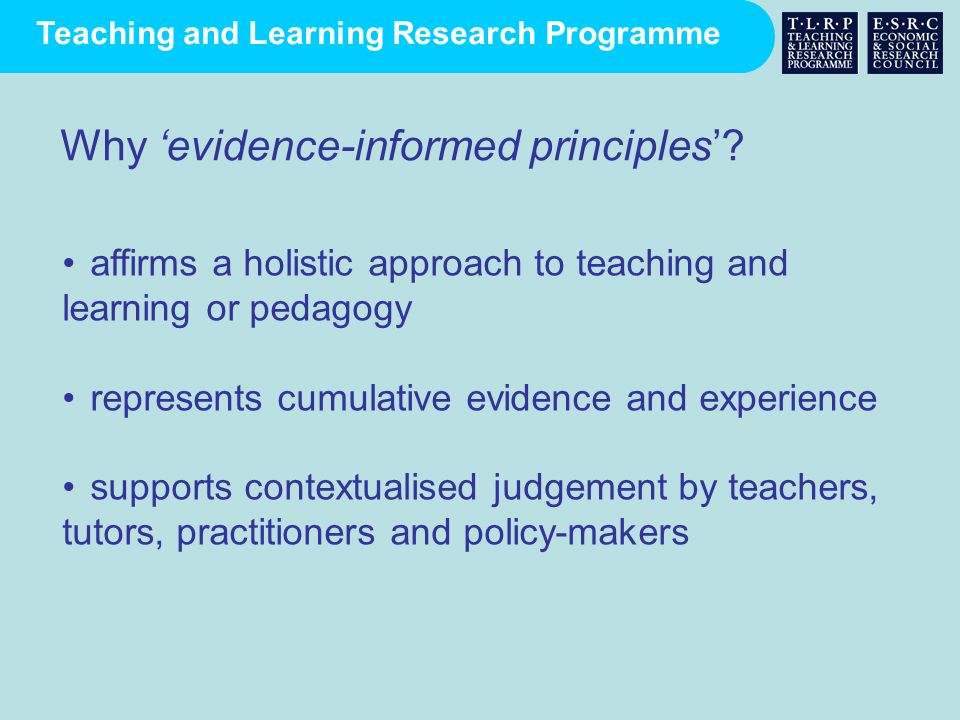 Why 'evidence-informed principles'