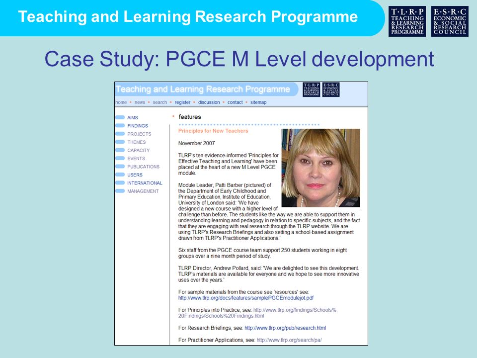 Case Study: PGCE M Level development