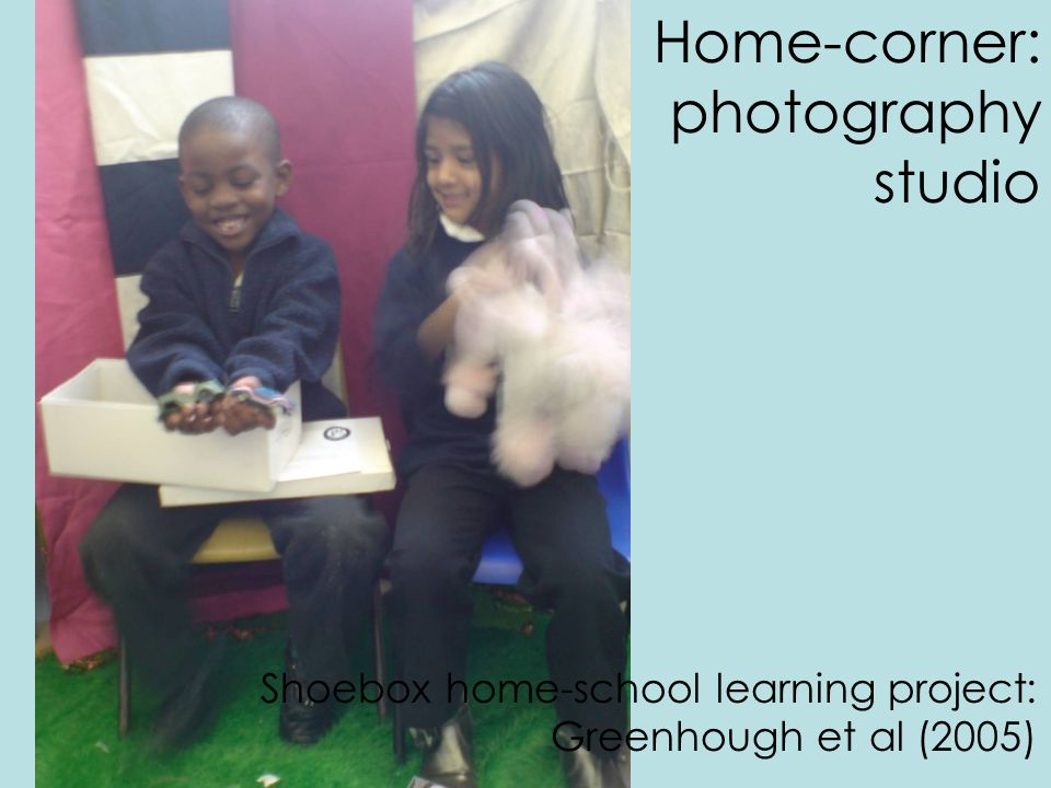 Home-corner: photography studio Shoebox home-school learning project: