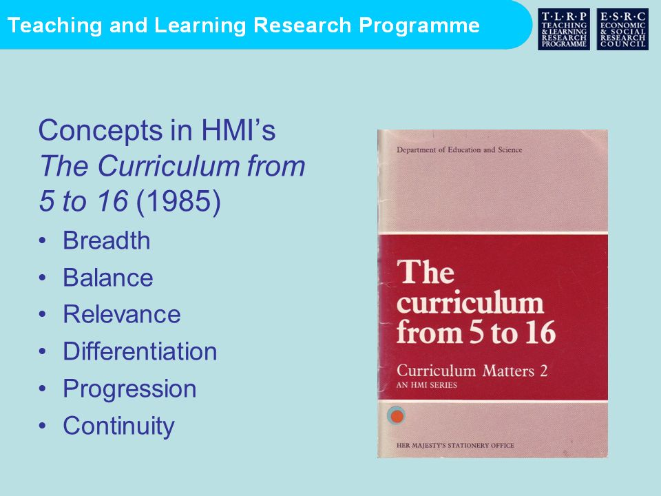 Concepts in HMI's The Curriculum from 5 to 16 (1985)