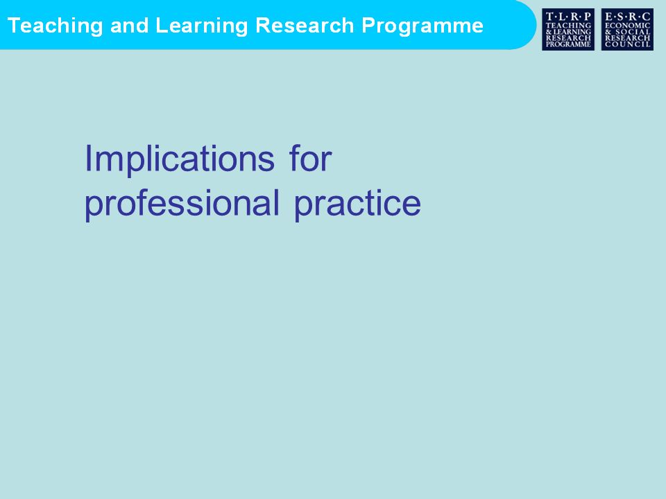 Implications for professional practice