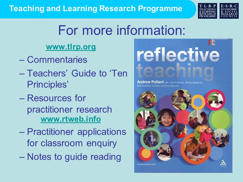 For more information: Commentaries Teachers' Guide to 'Ten Principles'