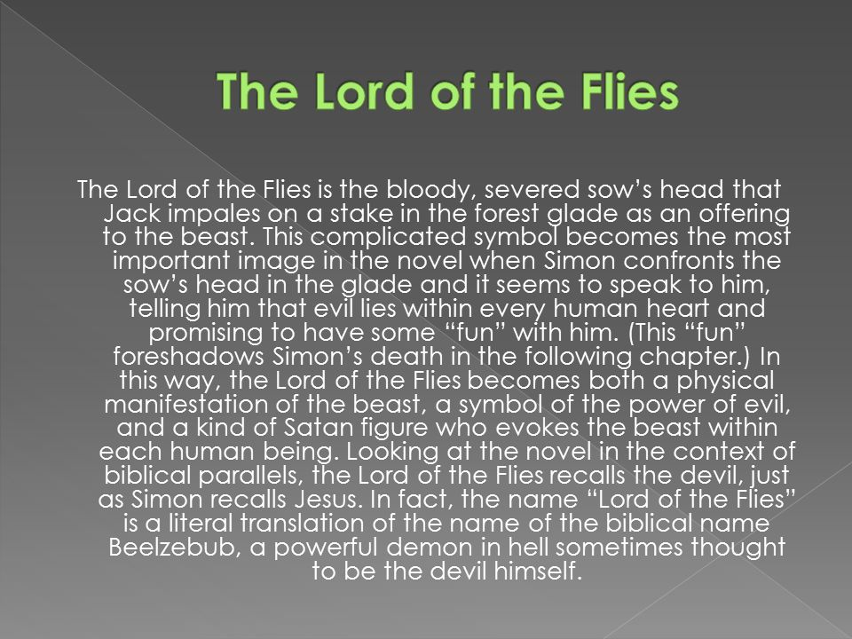 lord of the flies symbolism beast Test your comprehension of lord of the flies create a quiz  book  novel  lord of the flies  lord of the flies final test   that the beast a.