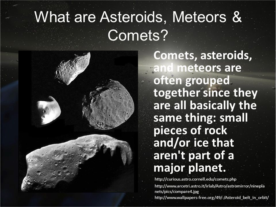 all comets asteroids and meteors together - photo #1
