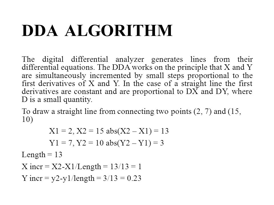 Dda Line Drawing Algorithm With Solved Example : Dda line drawing algorithm problems lect cg cs midterm