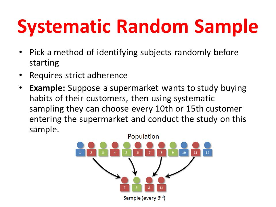random sampling method in research For instance, if they wanted to home in on alcohol use among asian students, they would create a random sample consisting only of asian students by the same token, if the study was focused on how much students drink during the week, they would create a questionnaire or other method for finding only kids who drink on weekdays for their research.